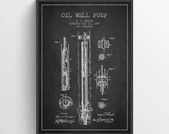 1898 Oil Well Pump Patent Wall Art Poster, Oil Drilling Poster, Oil Drilling Art Print, Texas Art, Home Decor, Gift Idea, PFEN21P