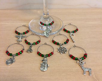 Christmas wine glass charms set - Christmas wine glass markers - hostess gift - gift for her - stocking stuffer gift