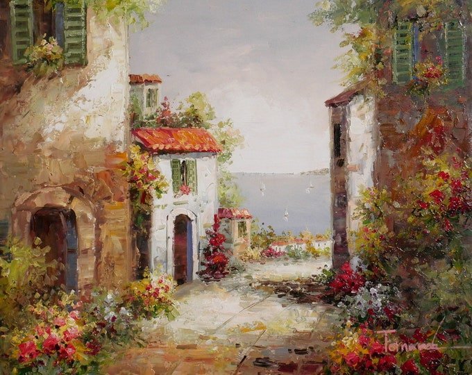 Italian Art Mediterranean Painting Handmade Oil on Canvas  Wall Art Beautiful Decor