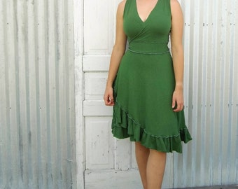Organic Cotton Wrap Dress with Ruffle - Green, Purple and Black - Ready to Ship from Yana Dee