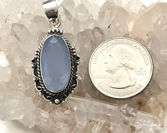 Faceted Blue Chalcedony Pendant Necklace
