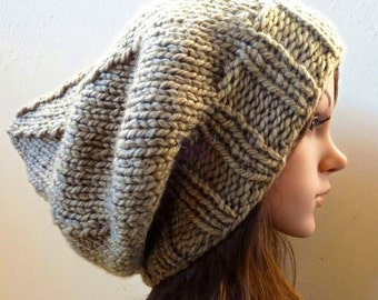 MAY SPECIAL - Slouchy beanie Winter hat - Lt Khaki (or Choose Color) - knit - accessories - Wool - slouch - baggy - under 40 - gift