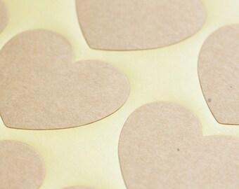 Kraft Heart Stickers - Craft / Scrapbooking / DIY Wedding Favours (60)