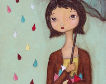 Art print Catching Raindrops - 8x10 print of original painting, umbrella spring wall art
