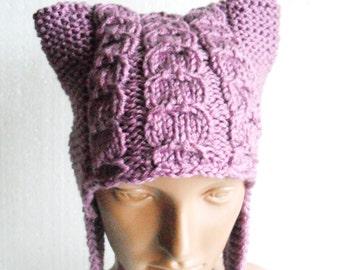 Earflap Hat. knitted bonnet. womens winter hat. handmade winter accessory. magenta knit hat. Ear Flap Cat Hat.