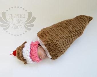 Newborn-12 Months 3 Scoops Ice Cream Cone Crochet Cocoon & Hat Set