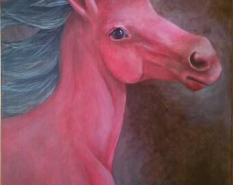 "Wild Red Horse Original Acrylic Painting 14"" x 18"""