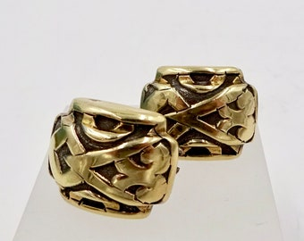 Vintage JOHN HARDY EARRINGS 18k Gold Sterling Silver Omega Back Earrings