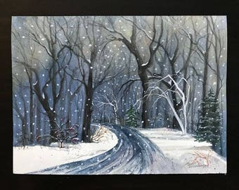 Snowy,Glowing,Evening Night,A Wooded Road,Bare Trees & Evergreens,Watercolor Print Image made into Christmas Cards by Janet Dosenberry