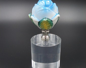 Custom Lamp Finial with a Hand Painted Blue Porcelain Rose
