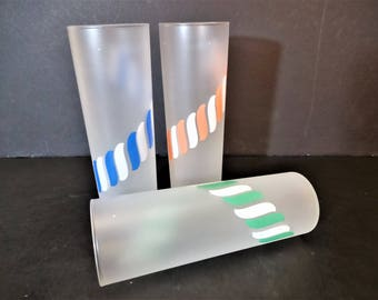Vintage Libbey Frosted Candy Stripe Glasses - Set of 3 - Tom Collins/Iced Tea Glasses with Colorful Candy Canes - Tumblers - Vintage Barware