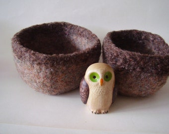 felted wool bowls set of 2 shades of brown