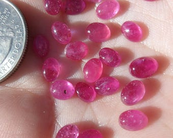 7x5mm Ruby Cabochons, Oval, Crystals, Jewelry Supplies