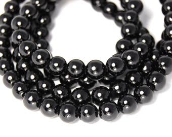 8mm Opaque Black Jade Beads Opaque Smooth - 15.5 inch strand