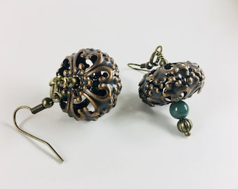 Moss Agate and Copper earrings