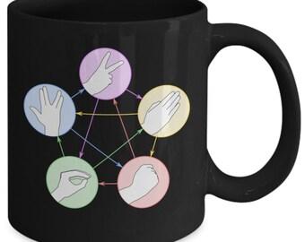 Rock paper scissors lizard spock coffee mug (black) 11oz the big bang theory coffee mug - the big bang theory gift merchandise cup