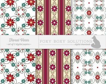 Digital Download Floral Vine Patterns - Instant Download Digital Paper - Craft Supply for Scrapbooking & Crafting - Printable Paper