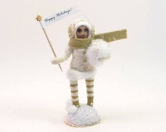 READY TO SHIP Vintage Inspired Spun Cotton Bundled Up Girl Figure