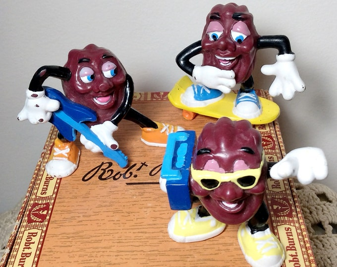 1988 Applause California Raisins Collectible Figures - Set of Three (3) PVC