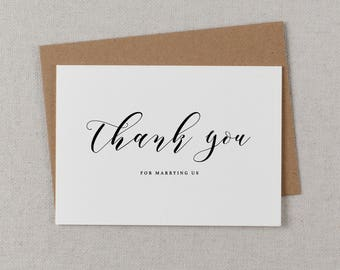 Thank you for Marrying Us - Wedding Card to Officiant, Priest Thank You Card, Thank You Minister, Judge, Pastor, Priest, Thank You Cards,K10