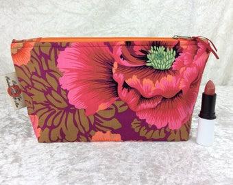 Handmade Zipper Case Zip Pouch fabric bag pencil case purse Philip Jacobs Kaffe Fassett Brocade Peony Flowers