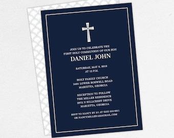 First Communion Invitation, First Holy Communion Invitation, Religious, Printed, PDF, DIY Communion Invitation, Boy Invitation, Navy, Daniel