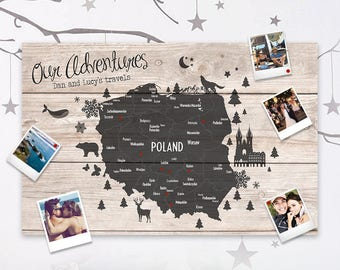 Family travel map etsy personalised travel map of poland pin cork board couples wedding gift valentines polish holiday girlfriend gumiabroncs Image collections