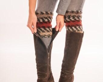 Bohemian Boot cuffs, boho socks Hand Knit Boot Topper Aztec Over the Knee high Leg warmers, Winter wool socks, girl Fashion Trend Gift