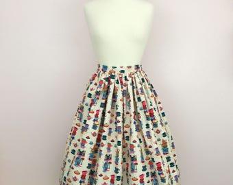 1950s 50s Inspired Novelty Print Full Gathered Skirt | Mid Century JW Modest Skirt |  Retro Tea Party Whimsical Skirt