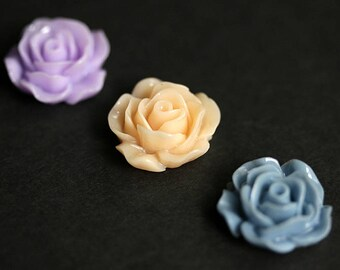 Roses Magnet Set of Three. Lavender Purple, Peach, and Dusk Blue Flower Magnets. Floral Fridge Magnets. Handmade Home Decor.