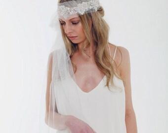 KELLY // Bridal Veil, Boho Veil, Great Gatsby, Art Deco style, Rhinestones, Antique Silver