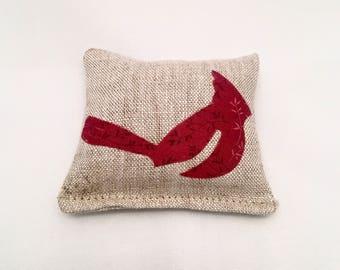 Small Red Cardinal Lavender Sachet - Small Lavender Pillow- Small Cardinal Sachet in Linen with Maine Balsam Fir