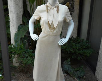 Vintage 1970's Ivory & Beige Career Dress - Size 10