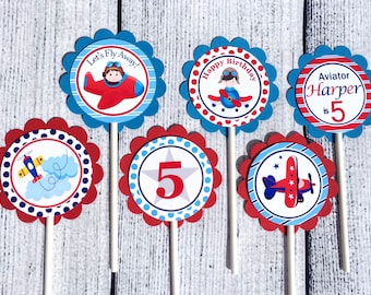 Airplane Cupcake Toppers (set of 12) - Airplane Party Decorations, Airplane Party Supplies, Custom Cupcake Toppers, Kids Party