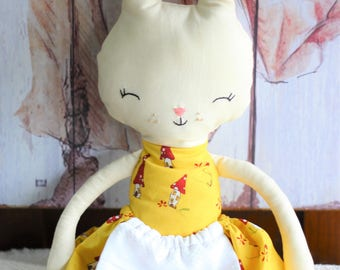 Rabbit Doll Yellow Dress Bunny Softie