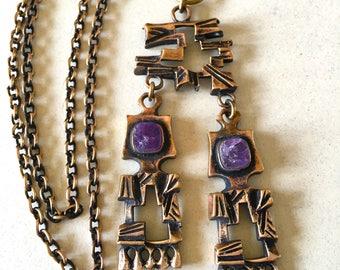 Vintage Finland Bronze Pentti Sarpaneva Amethyst Necklace ON SALE