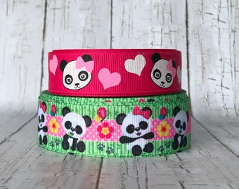 "7/8"" - 1"" Panda Academy Hot Pink Green Hearts Animal Grosgrain Hairbow Ribbon - Pink is 7/8"" - Sold by 5 yards"