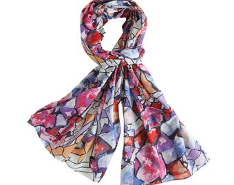 Fall Color Scarf, Lightweight Cotton scarf, Abstract Print Cotton Scarf, Oblong Cotton Scarf
