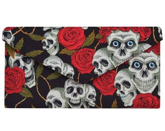 Day of the Dead Red and Black Skulls & Roses Clutch Bag