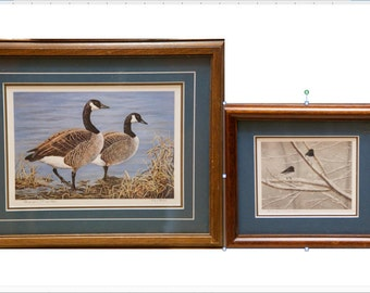 "Two Sharon Manka Prints ""Two Geese"" and ""Winter Bird"""