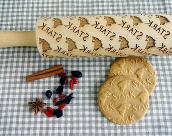 HOUSE STARK Embossing Rolling Pin. Laser engraved rolling pin with Game of Thrones Stark pattern