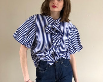 ralph lauren puff sleeve blouse / ruffle blouse / 90s blouse / ruffle top / blue & white striped blouse | s m l
