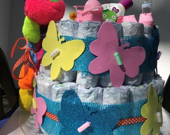 Diaper cake bursting with bright color.