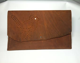 Bird leather clutch