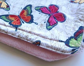 Baby blanket, snuggle blanket, butterflies, red, orange