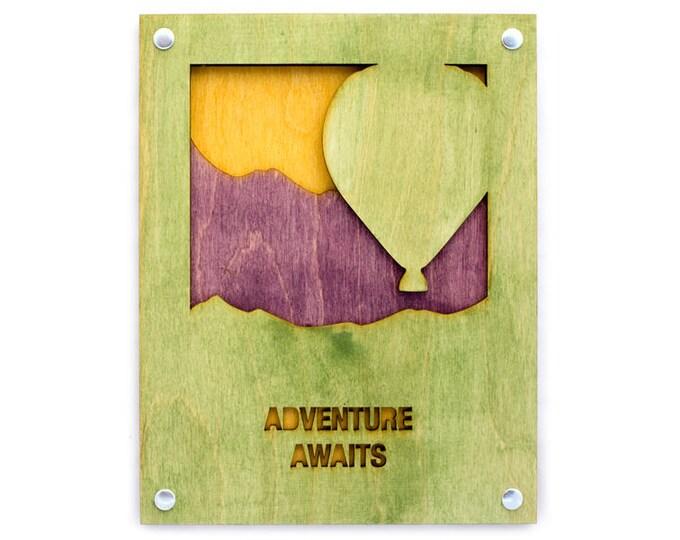 Rustic Wall Art - Mountain Wall Decor - Hot Air Balloon Scene - Mountain Decor - Mountain Home Art - Hot Air Balloon Scene - Mountain Gift