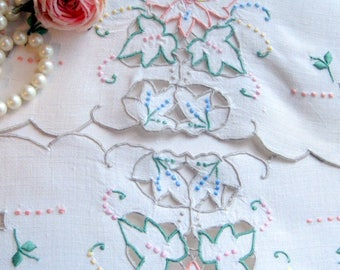Long Linen Runner, Dresser Scarf, Open Cutwork, Vintage Runner, Romantic Homes, by mailordervintage on Etsy