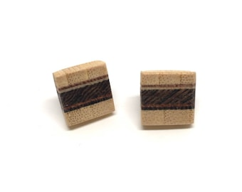 Wooden ear studs with sterling silver, earrings made of wood
