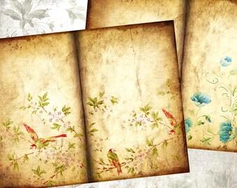 Old Paper Digital Scrapbook Paper Floral Background Digital Printable Journal Pages Writing Paper Digital Collage