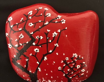 Japanese Cherry Blossom Tree Painted Rock